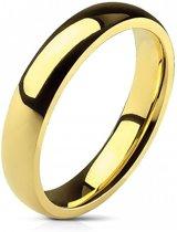 Ring Dames - Heren Ring - Goudkleurig - Goud Kleur - Glimmende Ring met Afgeronde Hoeken - Glow