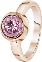 Lucardi - Colours by Kate - Stalen ring roseplated met roze zirkonia