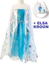 Elsa Jurk 130 + Elsa Kroon-Prinsessen jurk met cape maat 116-122, lengte 75 cm