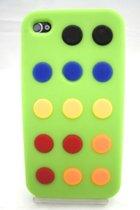Zacht rubberen backcase met stippen groen voor iphone 4/4s