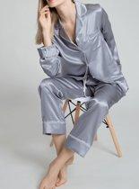 Dames zijden pyjama set, Zilvergrijs, XL