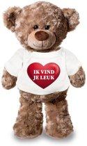 Knuffelbeer ik vind je leuk met rood hartje 24 cm - Valentijn/ romantisch cadeau