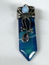 Blauwe agaat hanger met opaliet en amethist