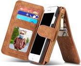 iphone 7 Luxe Lederen Portemonnee Hoesje - uitneembaar met backcover (bruin)