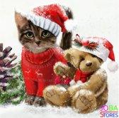 """Diamond Painting """"JobaStores®"""" Kerst Katje en Beertje - volledig - 40x40cm"""
