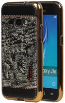 Wicked Narwal | M-Cases Croco Design backcover hoes voor Samsung Galaxy J1 2016 Zwart