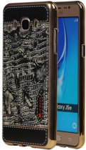 Wicked Narwal   M-Cases Croco Design backcover hoes voor Samsung Galaxy J5 2016 Zwart