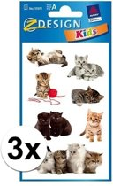 3x Kitten stickers 3 vellen - katten/poezen stickers