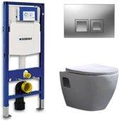 Geberit Up 100 Toiletset – Inbouw WC Hangtoilet Wandcloset - Daley Flatline Geberit Delta 50 Mat Chroom