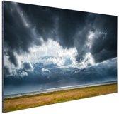 Onweerswolken Aluminium 90x60 cm - Foto print op Aluminium (metaal wanddecoratie)