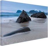 Zandstrand Canvas 180x120 cm - Foto print op Canvas schilderij (Wanddecoratie woonkamer / slaapkamer) XXL / Groot formaat! / Zee en Strand