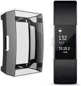 KELERINO. Full cover hoesje voor Fitbit Charge 2 - Siliconen - Zwart