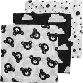 Meyco 3-pack hydrofiele luiers Bear-Clouds-Dots zwart/wit