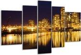 Glasschilderij Steden | Geel, Zwart, Wit | 170x100cm 5Luik | Foto print op Glas |  F000531
