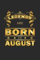 Legends Are Born In August: Notizbuch, Notizheft, Notizblock - Geburtstag Geschenk-Idee f�r Legenden - Karo - A5 - 120 Seiten