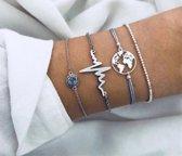 Nr. 10 - Armband hartslag - armband heartbeat - armband wereldbol - armband zilveren bolletjes - armband met steentje - © Tibri (C)