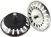 Gootsteen Afvoer Plug voor de Keuken - Geen Verstopping - Spoelbak - Wasbak - Afvoerstop - Ontstopper - Zeef - Korfplug - Wastafel - 1 Stuk - 77 mm - RVS