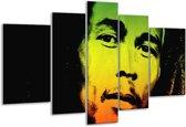 Glasschilderij Man | Groen, Zwart, Oranje | 170x100cm 5Luik | Foto print op Glas |  F003691