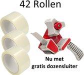 42 Rollen - Verpakkingstape Breed Plakband 50 mm x 66 mtr + Gratis Dozensluiter