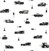 Dutch Wallcoverings Kinderbehang - Disney - Cars 2 silhouette - Zwart/Wit