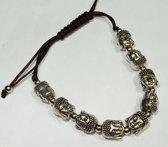 Zilveren boeddha geluks armband