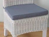 Stoelkussen grijs voor rotan stoel Larissa - 45x42 cm.