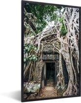 Foto in lijst - Ruïnes in Angkor wat fotolijst zwart 40x60 cm - Poster in lijst (Wanddecoratie woonkamer / slaapkamer)