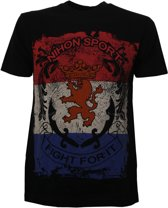 Nihon T-shirt Km Fight For It Nl Heren Zwart Maat S