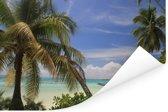 De pier over de zee op Moorea dichtbij Tahiti in Frans Polynesië Poster 180x120 cm - Foto print op Poster (wanddecoratie woonkamer / slaapkamer) XXL / Groot formaat!