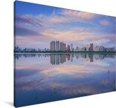 Skyline van de Chinese stad Harbin Canvas 90x60 cm - Foto print op Canvas schilderij (Wanddecoratie woonkamer / slaapkamer) / Aziatische steden Canvas Schilderijen