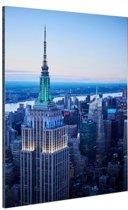 Empire State Building bij zonsondergang Aluminium 20x30 cm - klein - Foto print op Aluminium (metaal wanddecoratie)