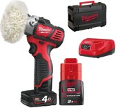 Milwaukee M12 BPS-421X 12V Li-Ion accu Schuur-/polijstmachine set (1x 4.0Ah & 1x 2.0Ah accu) in HD Box - 76mm