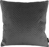 Dark Grey Velvet Chevron Kussenhoes | Fluweel / Velours | Grijs | 45 x 45 cm