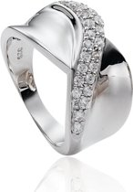 Classics&More Zilveren Ring - Maat 54 - Gerhodineerd Met Zirkonia