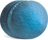 Tannery Leather Onderzetters Excellent Leer 4 stuks Metallic Blauw- Rond