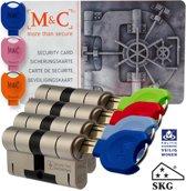 M & C Deurcilinder Anti kern & cilindertrek 32/32 set van 4 stuks skg*** gelijksluitend incl. 7 color sleutels.