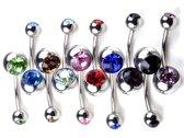 10 kleurige kristal navel piercing set - NBH®