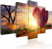 Schilderij - Land van Liefde, Rood/Geel, 5luik