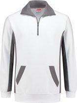 Workman Zipper Sweater Bi-Colour - 2708 wit/grijs - Maat L