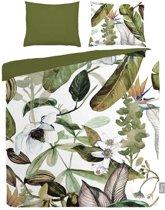 iSeng Botanical - Dekbedovertrek - Eenpersoons - 140x200/220 cm + 1 kussensloop 60x70 cm - Green
