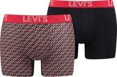 Levis - Heren 2-Pack Babytap Brief Boxershorts Rood Zwart - S