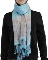 Sjaal / Shawl / Omslagdoek 100% Pashmina Blauw Multi Color