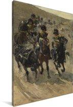 De Gele Rijders - Schilderij van George Hendrik Breitner Canvas 90x140 cm - Foto print op Canvas schilderij (Wanddecoratie woonkamer / slaapkamer)