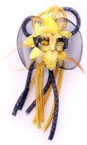 Broche bloem  tubes en oogmasker zwart/geel