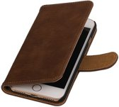 Bruin Hout booktype wallet cover hoesje voor Apple iPhone 7 / 8