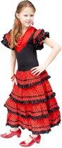 Spaanse jurk - Zwart/Rood - Maat 116/122 (8) - Verkleed jurk