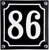 Zwart emaille huisnummer  - 86