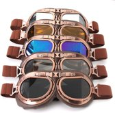 Vintage Steampunk Pilotenbril Motorbril Koperen Look Multikleuren Glas