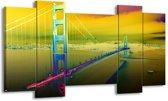Canvas schilderij Brug | Groen, Geel, Paars | 120x65 5Luik