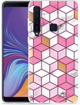 Galaxy A9 2018 Hoesje Pink-gold-white Marble